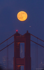 Zany Night (Wilson Lam {WLQ}) Tags: sanfrancisco california moon strawberry fullmoon goldengatebridge moonrise transamerica alignment