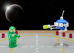 Little Green Man Interrogation (billyburg) Tags: lego space lunar exploration geological outpost little green man men from mars martian fear group selfie upside down