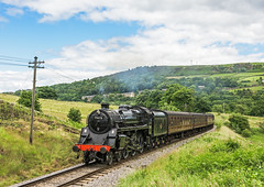 Climbing Standard (4486Merlin) Tags: england europe unitedkingdom transport steam railways westyorkshire gbr oakworth keighleyworthvalleyrailway heritagerailways 75078 exbr brstd4mt460 vintagetrainevent