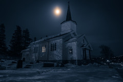 Vinter Kyrkje (ScottSimPhotography) Tags: old blue winter moon mountain snow ski cold church parish norway dark evening norge december darkness sinister dr sony norwegen steeple resort spooky spire moonlit valley icy melancholy scandinavia ghostly hdr scandinavian geilo hol kirke holms sentrum hallingdal buskerud kyrkje mirrorless a6000 slttahlen vestlefjorden