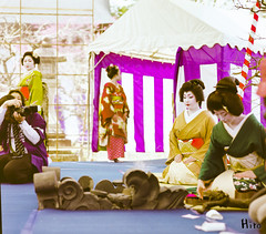 Kyoto Geiko Maiko (new scan) (GGG 3) Tags: portrait woman mamiya girl beauty festival japan lady kyoto kodak scan iso professional event maiko geiko geisha  kitano kimono 100 tradition f56   d800  rz67 80mm tenmangu baikasai ektor convert elnikkor 150mm   sekor  m39 mamiyasekor         f35w kamisitiken