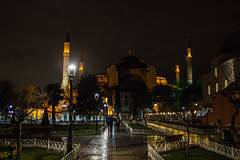 hagia mosque (felipeepu) Tags: street sky wet rain night dark shiny istanbul wise lamps wisdom nicht sophia hagia