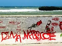 seaside grafitti (gerben more) Tags: red sea water rock wall grafitti morocco essaouira marokko essouira