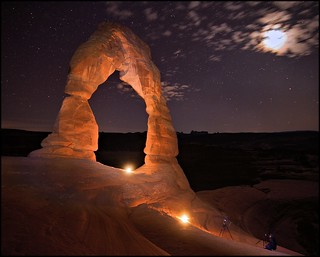 Lighting Delicate Arch, Arches National Park