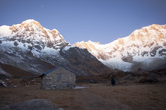 Annapurna South peak sunset - view from Annapurna Base Camp in Central Nepal (Alexandra Lande) Tags: trip travel blue nepal sunset camp wallpaper vacation sky panorama mountain color tourism nature rock clouds trekking season walking landscape scenery colorful asia heaven view outdoor hiking background altitude south hill pass dramatic glacier adventure climbing summit vista environment southeast peaks himalaya picturesque base col annapurna height active fishtail himal