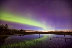 Battle between Dawn and Night (John Andersen (JPAndersen images)) Tags: morning night reflections stars dawn spring pond farm alberta aurora melt bonaccord