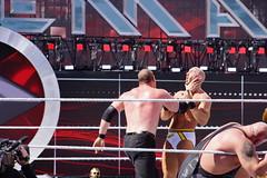 WWE Wrestler Kane puts hand around neck of Cesaro to setup for a chokeslam (Eric Broder Van Dyke) Tags: california neck for hand wrestling around wrestler setup kane wwe wrestlemania chokeslam 2015 puts cesaro levisstadium