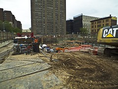 CAT Tears Up The Lower East Side Of Manhattan () Tags: nyc wall les cat construction lowereastside protest caterpillar donaldtrump condos luxury excavation billdeblasio therentistoodamnhigh