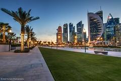 Blue hour from Doha Sheraton park (Ziad Hunesh) Tags: park blue sunset canon palms cityscape towers tokina hour sheraton doha qatar 1116mm 7dmarkii zhunesh