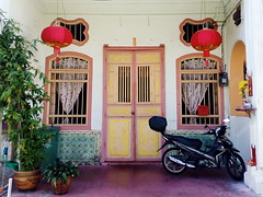 the kindergarten (grassybrownie) Tags: door old trip travel blue houses house color window colors architecture vintage asian design singapore colorful asia exterior designer interior chinese decoration style retro wanderlust architect malaysia lantern penang decor nofilter