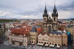 Overwatch (McQuaide Photography) Tags: above city light building tower church architecture zeiss square europe prague pov spires sony gothic perspective praha down aerial handheld czechrepublic elevated lookingdown fullframe alpha viewpoint oldtown overhead praag c1 czechia centraleurope tn capitalcity 1635mm starmsto eskrepublika variotessar captureone praskorloj tnskchrm mirrorless churchofourladybeforetn astronomicalclocktower sonyzeiss mcquaidephotography a7rii ilce7rm2 captureonepro9