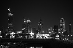 Sharq City Skyline at Night... (EHA73) Tags: leica nightphotography blackandwhite bw marina boats cityscape skyscrapers towers kuwait sharq alhamratower leicamm kipcotower aposummicronm1250asph typ246