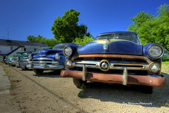 Used Car Lot (Tom Mortenson) Tags: usa ford wisconsin digital america canon geotagged midwest caroline rusty nostalgia chevy northamerica oldcars canoneos oldvehicles hdr automobiles photomatix tonemapping oldautomobiles shawanocounty centralwisconsin canon6d carolinewisconsin townshipofgrant