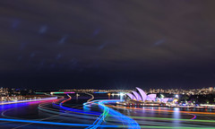 FROM THE SOUTH PYLON OF THE HARBOUR BRIDGE (16th man) Tags: canon eos sydney vivid nsw lighttrails sydneyharbour sydneyoperahouse sydneyharbourbridge millerspoint curcularquay vividsydney eos5dmkiii