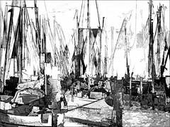sailboats (j.p.yef) Tags: peterfey jpyef yef germany kiel sailboats harbor abstract abstrakt digitalart bw sw segelboote water hafen wasser