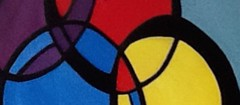 """ Just Partial "" (ColFineArtistMar1) Tags: blue red abstract black art colors yellow modern painting artist purple cross artistic contemporary circles shapes acrylics intercept"