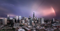 Drone Thunderstorm  Chicago (JoeyHelms Photography 2.5MViews&10kFollowers) Tags: drone aerial chicago illinois skyline rainbow thunderstorm dji phantom 3 lightning skyscrapers skyrises sunset sears tower hancock willis trump city urban