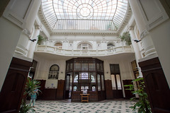 Wilhelm Landau bank (PiotrTrojanowski) Tags: warsaw architecture interior art nouveau secession skylight main hall balcony poland