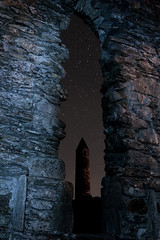 Glendalough (shaymurphy) Tags: ireland sky irish tower church window stone wall night stars long exposure forsale chapel irland glendalough monastery round buy purchase redbubble