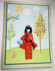 All-purpose handmade card 67 (tengds) Tags: blue trees red sun green mushrooms fan scenery card pouch bow papercraft japanesepaper washi ningyo handmadecard chiyogami yuzenwashi japanesepaperdoll washidoll origamidoll kimonodoll tengds allpurposecard