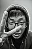 Manga-san Says Goodbye (filmbyhand) Tags: portrait blackandwhite nerd mystery pose tokyo glasses blackwhite student geek sigma s genius goodbye otaku hdr boywonder めがね