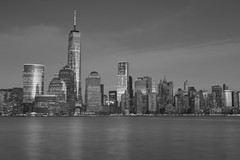 Freedom Tower (Jemlnlx) Tags: world new york 2001 city nyc ny never tower skyline night canon eos freedom evening long exposure downtown mark manhattan iii 911 nj center 11 september shutter jersey l 5d wtc usm lower 11th trade f28 ef forget ultrasonic 2470mm
