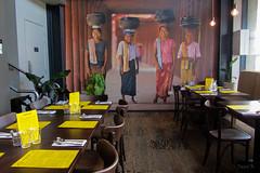 Rangoon Ruby Burmese Restaurant (Jocey K) Tags: newzealand christchurch plants mural chairs tables rangoonrubyburmeserestaurant