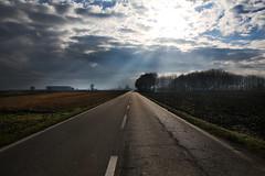 North Italy on the run (Stefano-Bosso) Tags: travel blue trees sky colors clouds landscape concrete travels strada blu piemonte cielo campo piedmont colorsplash paesaggio lightbeam allaperto novara