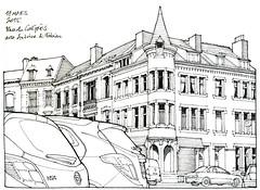 Liège, place du Congrès (gerard michel) Tags: auto architecture sketch place belgium liège croquis urbansketchers