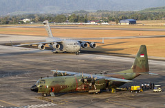 LIMA Support Ramp, Langkawi Airport (Mark Rourke) Tags: indonesia lima aircraft aviation airshow malaysia c17 langkawi usaf hercules c130 lima2015