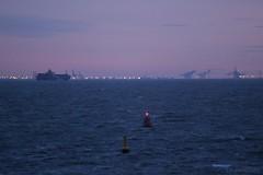 Vlissingen (Therapics) Tags: sunset beach clouds canon landscape eos ship nederland noordzee vlissingen schip westerschelde vrachtschip 600d