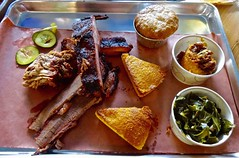 three meat plate at Black Bark BBQ (Fuzzy Traveler) Tags: sanfrancisco food vegetables restaurant casserole meat barbecue ribs pickles cornbread sweetpotato fillmore cobbler smoked brisket collards pulledpork blackbarkbbq