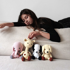 Mia and her toys (Pepika) Tags: dog elephant mushroom squirrel crochet toadstool giraffe shroom amigurumi