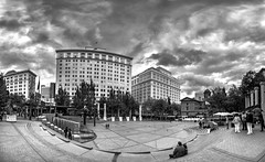 Pioneer Courthouse Square (Richtpt (Rich Uchytil)) Tags: blackandwhite bw panorama oregon portland us unitedstates pioneercourthousesquare 2016 a55 sonyalpha niksilverefex