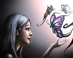 (banban_artist) Tags: art girl butterfly artwork eyes hands artist illustion illust beautyful      banbanartist