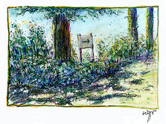 Wolfram Zimmer: Giverny, In the Garden of Monet (ein_quadratmeter) Tags: pencil garden painting landscape drawing kunst jardin brush exhibition dessin peinture exhibitions monet colored freiburg landschaft garten giverny bleistift ausstellung zeichnung kirchzarten malerei bleistiftzeichnung pinsel meinzimmer konzeptkunst ausstellungen objektkunst farbstiftzeichnung burgbirkenhof wolframzimmer