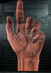 Sprayers' Cramp (Steve Taylor (Photography)) Tags: city blue newzealand christchurch brown streetart brick art festival wall fun graffiti mural hand spectrum canterbury nz southisland block ymca pointing cramp owendippie oiyou