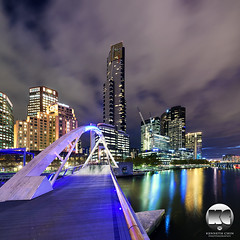 Evan Walker Bridge & Eureka Skydeck 88 (kenneth chin) Tags: city cloud architecture yahoo google twilight nikon australia melbourne victoria southbank nikkor eurekatower verticalpanorama digitalblending d810 1424f28g evanwalkerbridge