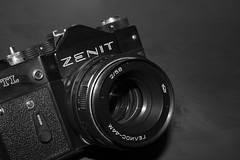 capture the past, save for the future (cemguv) Tags: camera blackandwhite bw monochrome lens indoor electronics zenit analogue dslr ussr