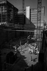 (patrickkuhl) Tags: street blackandwhite building monochrome wisconsin architecture blackwhite construction shadows 28mm streetphotography madison gr madisonwi ricoh ricohgr wisco wisc