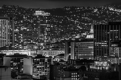 civic center lights (pbo31) Tags: sanfrancisco california city summer urban blackandwhite panorama black june skyline night dark nikon view cityhall over large panoramic vista stitched civiccenter nobhill 2016 boury d810