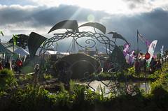 Green Fields Pond (frontios) Tags: uk england music green art water festival outdoors pond sitting pyramid mud pentax britain farm stage performing arts glastonbury somerset fields avalon k5 worthy 2016 greenfields scottbartlett frontios