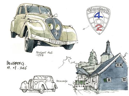 à Bensberg, avec les copains... (gerard michel) Tags: auto germany sketch aquarelle watercolour allemagne peugeot delahaye croquis ancêtre bensberg