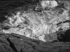 looking down, rocks, surf, southern tip of  Gull Rock, Monhegan, Maine, Mamiya 645 Pro, mamiya sekor 80mm f/2.8, Fomapan 200, Ilford Ilfosol3 Developer, 6.27.16 (steve aimone) Tags: lookingdown surf rocks waves gullrock monhegan monheganisland maine mediumformat monochrome monochromatic mamiya645pro mamiyasekkor80mmf28 120 film fomapan200 ilfordilfosol3developer epsonperfectionv550 primelens