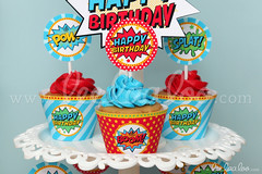 21a - Retro Superhero - Party Circle & Cupcake Wraps - B27 (LeeLaaLoo) Tags: birthday boy party food girl beautiful diy awesome decoration birthdayparty best retro superhero ideas supply printable