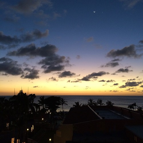 Waxing crescent moon & Venus over the Caribbean.