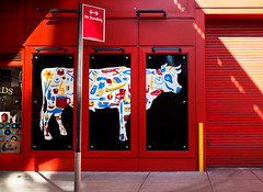 Red Bull (Wes Bender) Tags: street nyc red urban color art mural chelsea manhattan district packing meat olympusem1 olympus1240pro