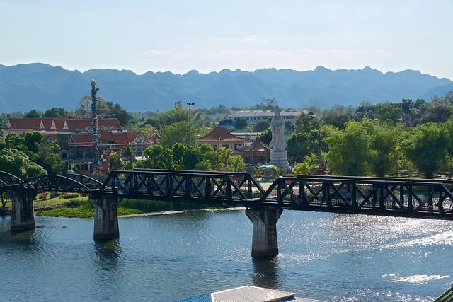 The infamous bridge over the river Kwae (Kwai) in Kanchanaburi, Thailand large image