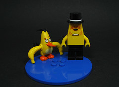 Bent Nana & Psycho Lopps (Karf Oohlu) Tags: lego cyclops banana tophat minifig moc angrybird modifiedminifig