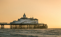 Eastbourne Morning Glow (pietkagab (on the road)) Tags: uk trip morning travel sea england tourism water photography pier glow bright pentax britain sightseeing adventure eastbourne eastsussex k5 pentaxk5ii pietkagab piotrgaborek